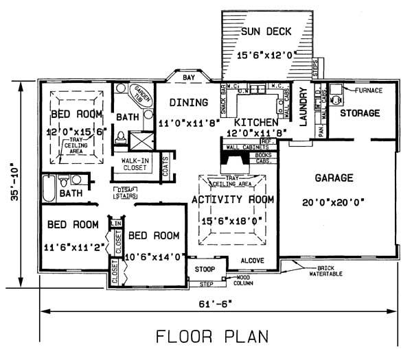 План 1 этажа План 1-этажного дома BR-1019-1-3 137 кв м