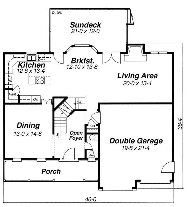 План 1 этажа Проект двухэтажного дома в английском стиле с встроенным гаражом